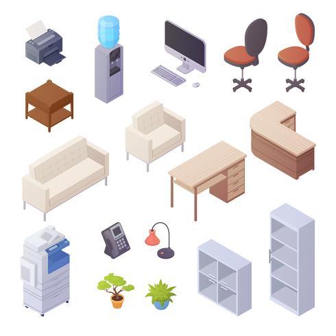 Éléments isométriques d'intérieur de bureau vecteur
