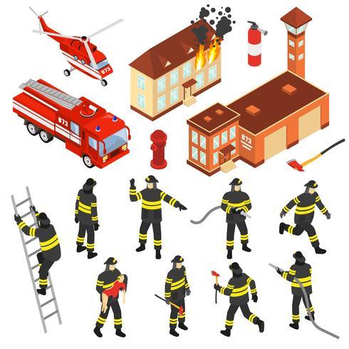 jeu d'icônes de service d'incendie isométrique vecteur
