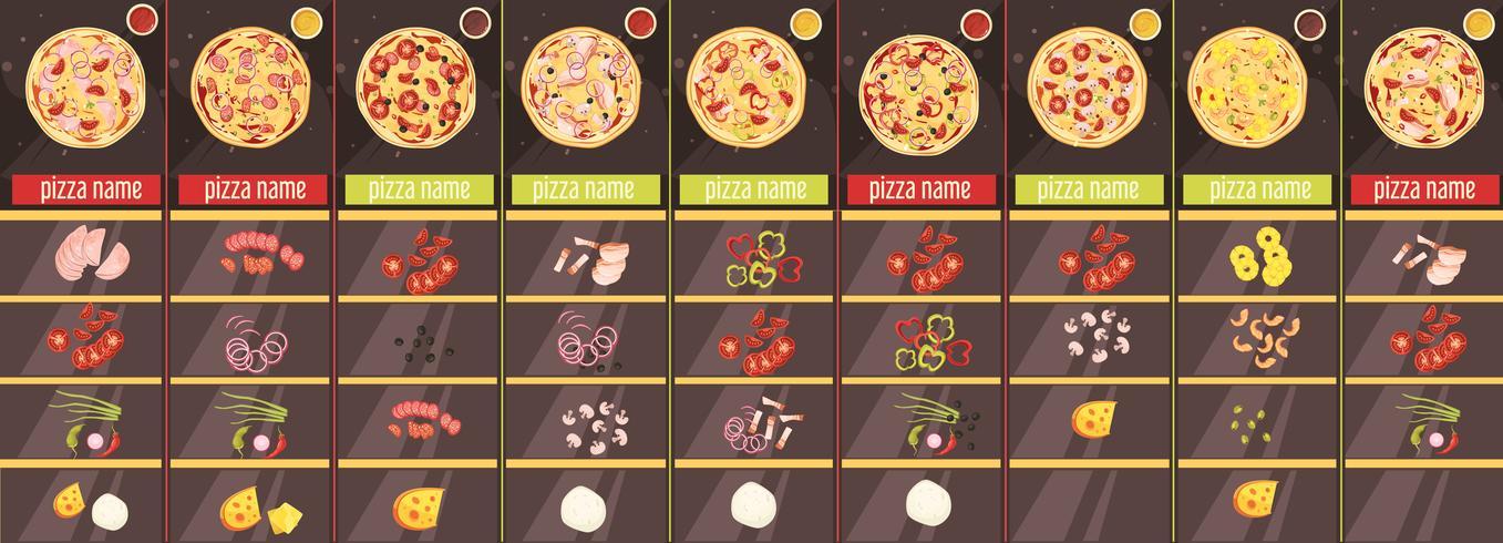 Modèle de menu de style de dessin animé de pizza vecteur
