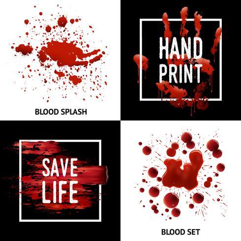 Éclaboussures de sang 4 icônes carré Concept vecteur