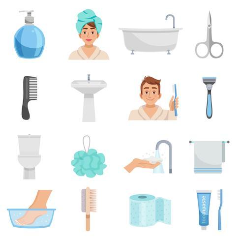 Produits d'hygiène Icon Set vecteur