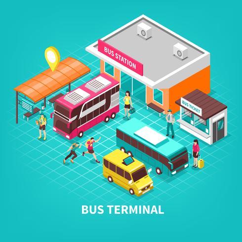 Illustration isométrique du terminal de bus vecteur