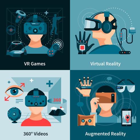 Concept plat de réalité virtuelle vecteur