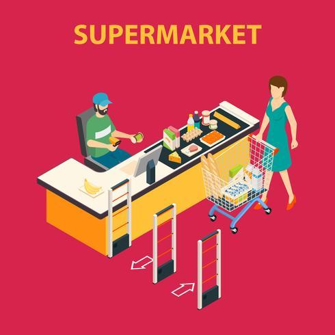 Composition du centre commercial Supermarché vecteur