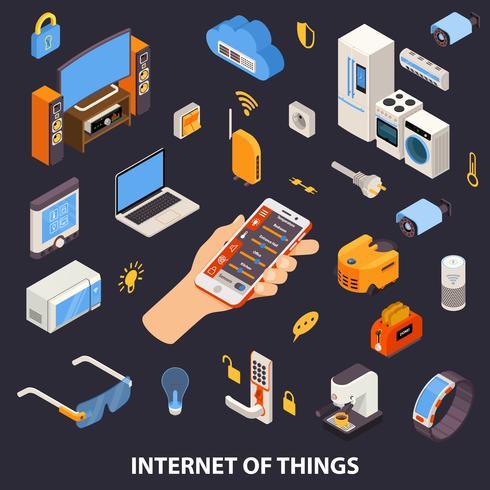 Affiche isométrique du contrôle d'Internet of Things vecteur