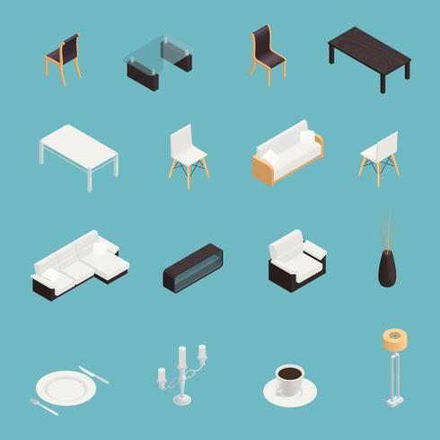 Ensemble d'icônes intérieur de salle à manger vecteur