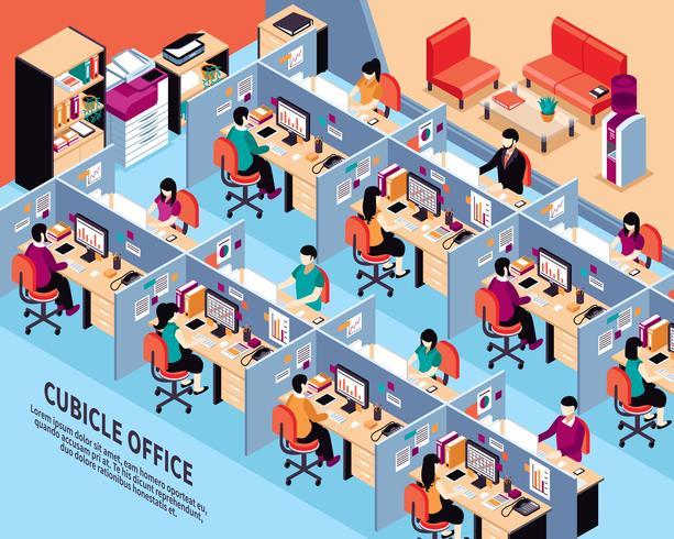 Illustration vectorielle isométrique de bureau au travail vecteur