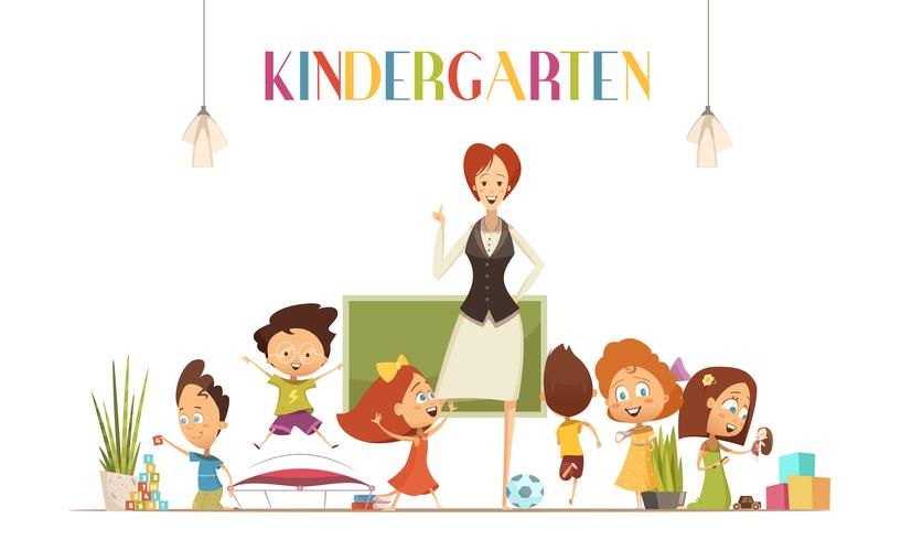 Kindergarden Teacher avec Kids Cartoon Illustration vecteur
