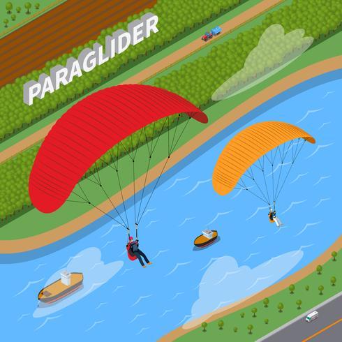 Illustration isométrique de parapente vecteur