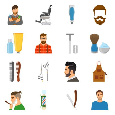 set d'icônes plat coiffeur vecteur