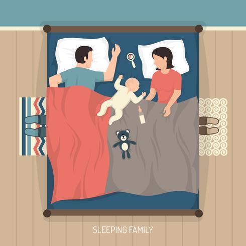 Dormir en famille avec bébé vecteur