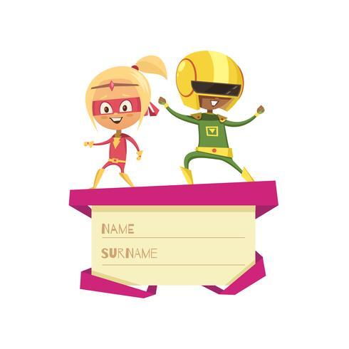 Enfants vêtus comme des super-héros dansant sur le couvercle d'une boîte-cadeau vecteur
