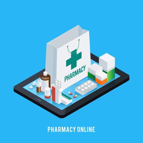 Concept en ligne de pharmacie de comprimé vecteur