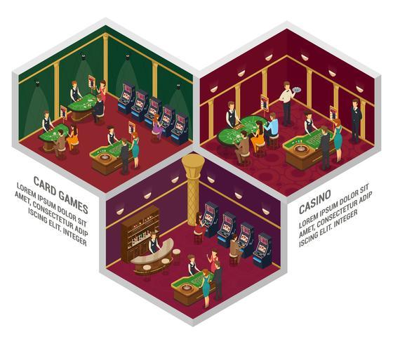 Trois compositions intérieures isométriques de casino vecteur