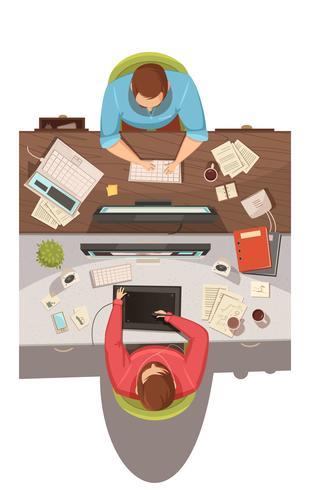 Concept de design vue de réunion d'affaires vecteur
