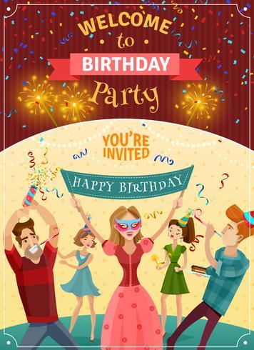 Affiche d'invitation d'annonce de fête d'anniversaire vecteur