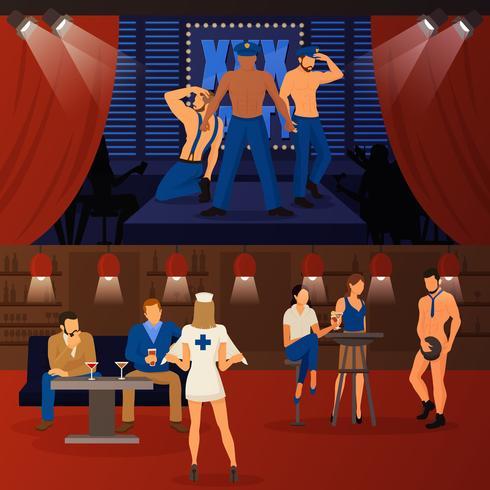 Ensemble de bannières Club Striptease vecteur