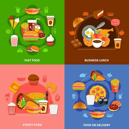 Carré d'icônes plat Fast Food 4 vecteur