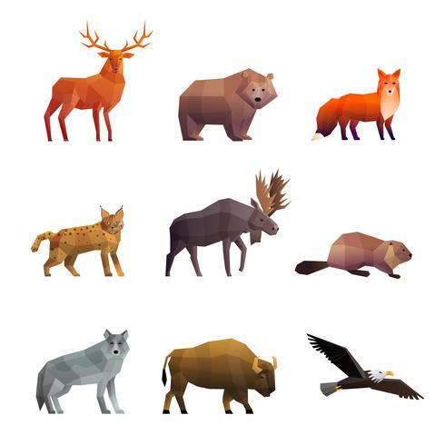 Ensemble d'icônes polygonales animaux sauvages du nord vecteur