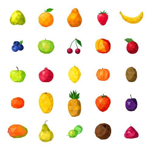 Collection d'icônes polygonales colorées de fruits frais vecteur