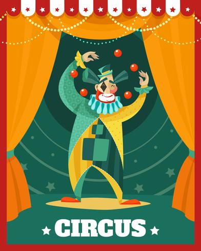 Affiche de performance de jonglage de clown de cirque vecteur