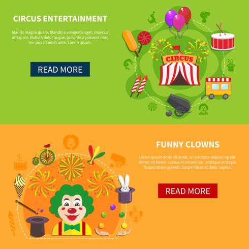 Bannière horizontale de cirque et de clowns vecteur