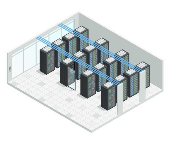Intérieur isométrique de la salle des serveurs vecteur