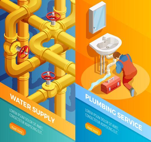 Alimentation en eau Plomberie Bannières Isomertic vecteur