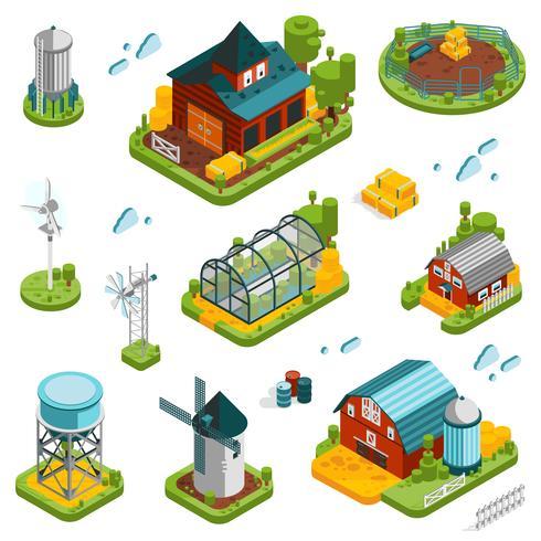 Ensemble d'éléments de paysage de ferme vecteur