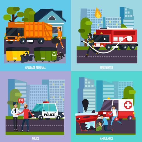 Service d'icônes des services d'urgence vecteur