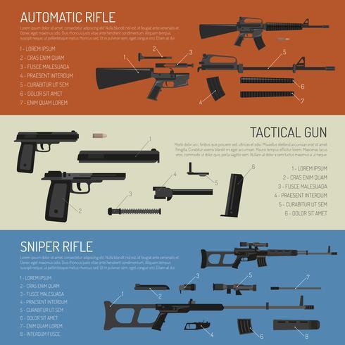 Armes et armes à feu bannières horizontales vecteur