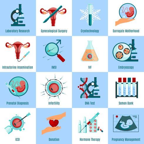 Set d'icônes carrés d'insémination artificielle vecteur