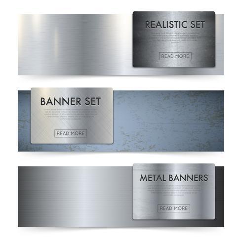 Jeu de bannières réalistes de texture de feuilles de métal vecteur