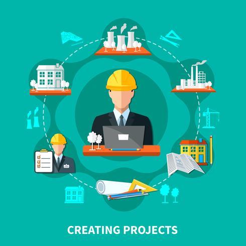 Composition du cercle de création de projet vecteur