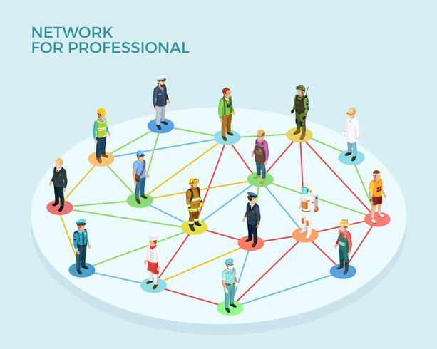 Concept isométrique de réseau professionnel vecteur