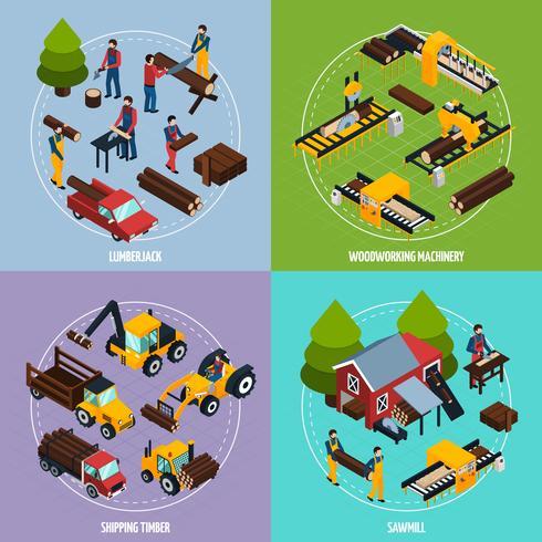 Scierie 2x2 Concept de design isométrique vecteur