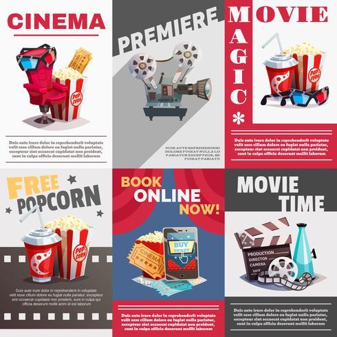 Ensemble d'affiches de cinéma avec publicité de premiere vecteur