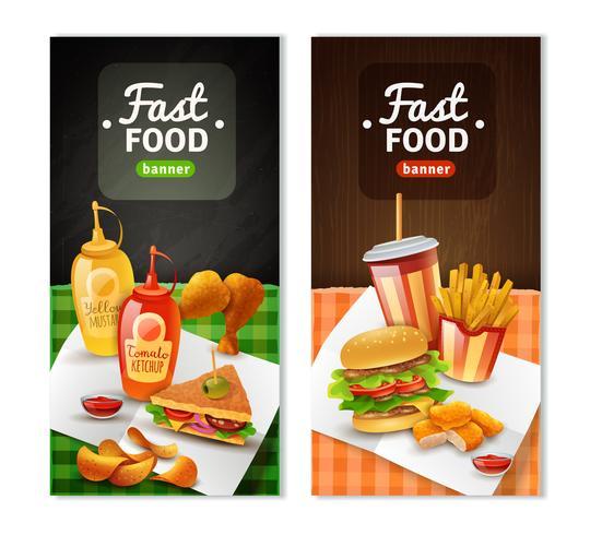 Fast Food 2 Bannières verticales vecteur
