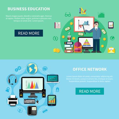 Bannières réseau bureautique et éducation commerciale vecteur