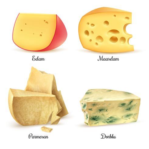 Ensemble de 4 images réalistes de fromages de qualité vecteur