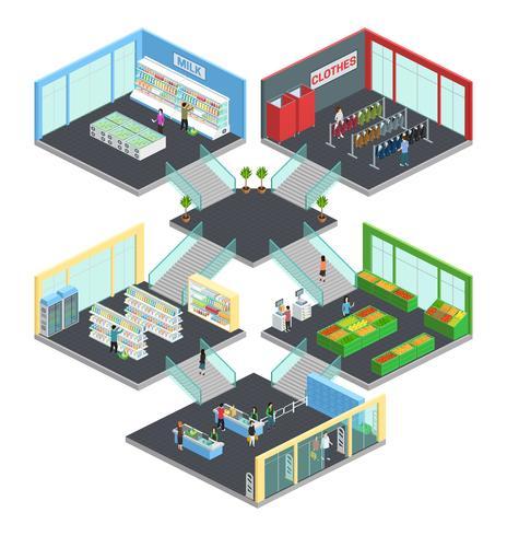 Composition isométrique de supermarchés à plusieurs étages vecteur