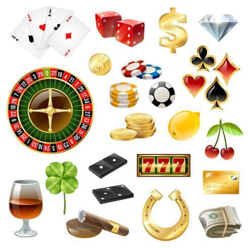 Accessoires de casino Symboles Accessoires Ensemble brillant vecteur