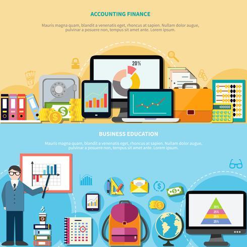 Education commerciale et comptabilité Finance Bannières vecteur