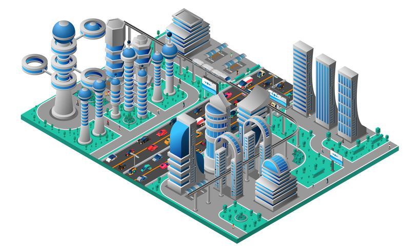 Modèle isométrique de paysage urbain futuriste vecteur