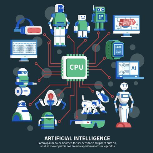 Illustration vectorielle d'intelligence artificielle vecteur