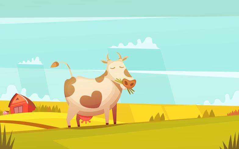Affiche de dessin animé de pâturage de vache sur des terres agricoles vecteur