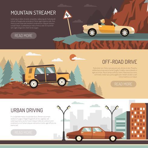 Ensemble de bannières horizontales avec des voitures de tourisme vecteur