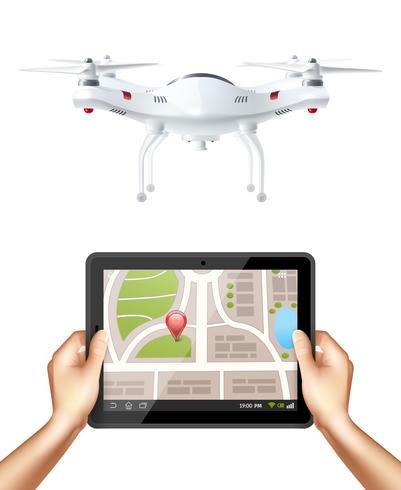 Quadrocopter et mains tenant une tablette vecteur