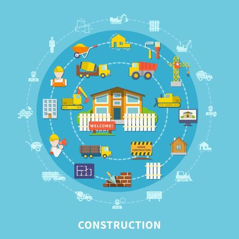Éléments de construction plats vecteur