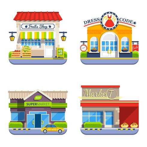 Boutique Collection d'icônes colorées à plat vecteur